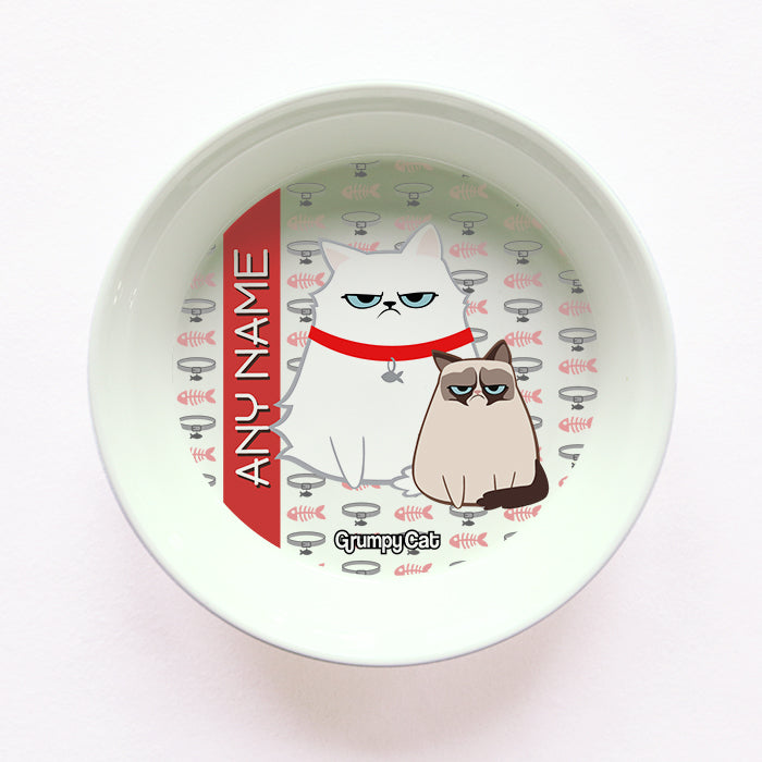 Grumpy Cat Fish Collar Cat Bowl