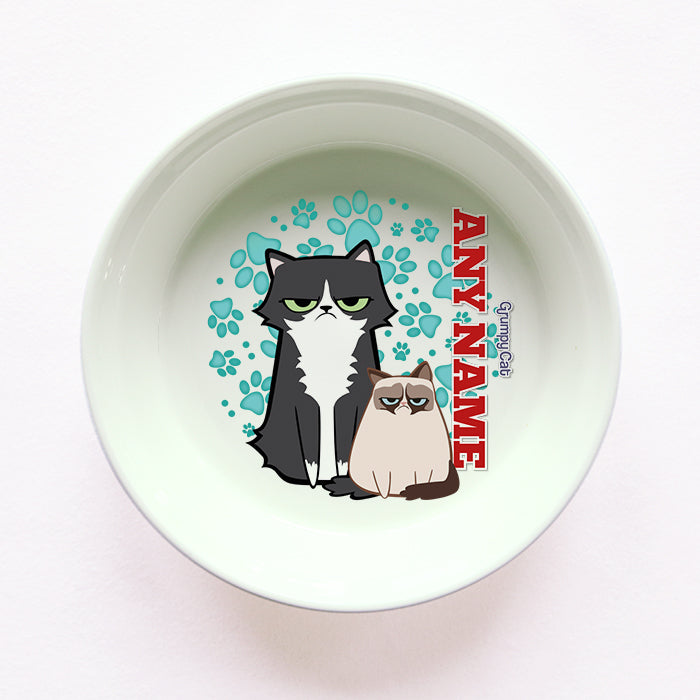 Grumpy Cat Mint Paw Pattern Cat Bowl