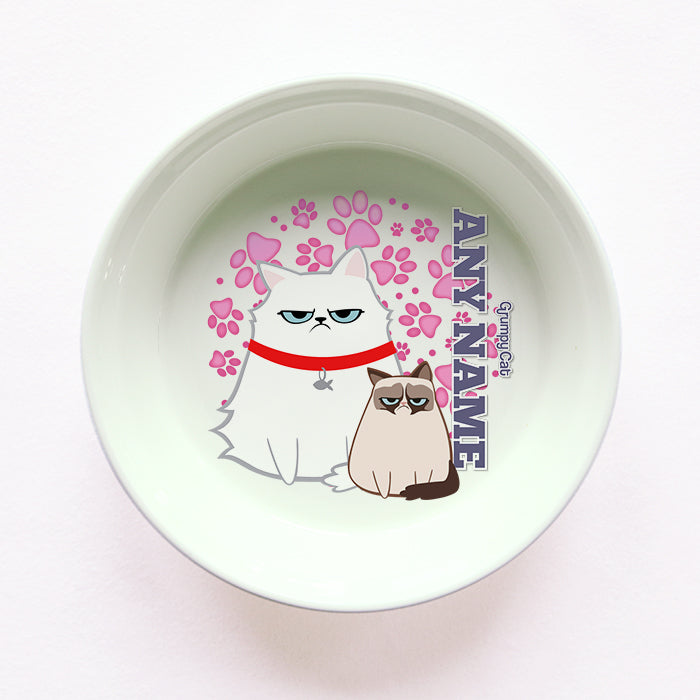 Grumpy Cat Pink Paw Pattern Cat Bowl
