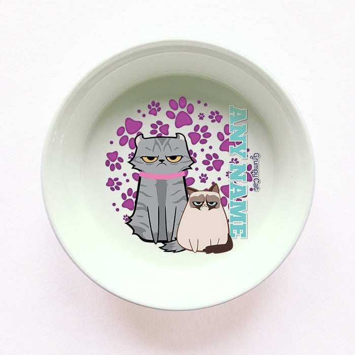 Grumpy Cat Purple Paw Pattern Cat Bowl