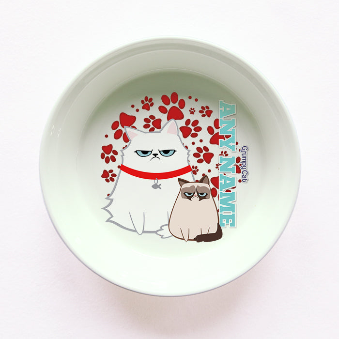Grumpy Cat Red Paw Pattern Cat Bowl