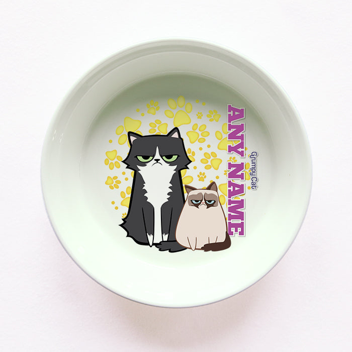 Grumpy Cat Yellow Paw Pattern Cat Bowl