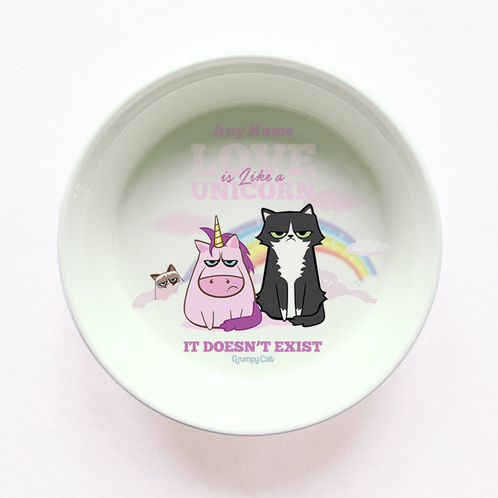 Grumpy Cat Unicorn Cat Bowl