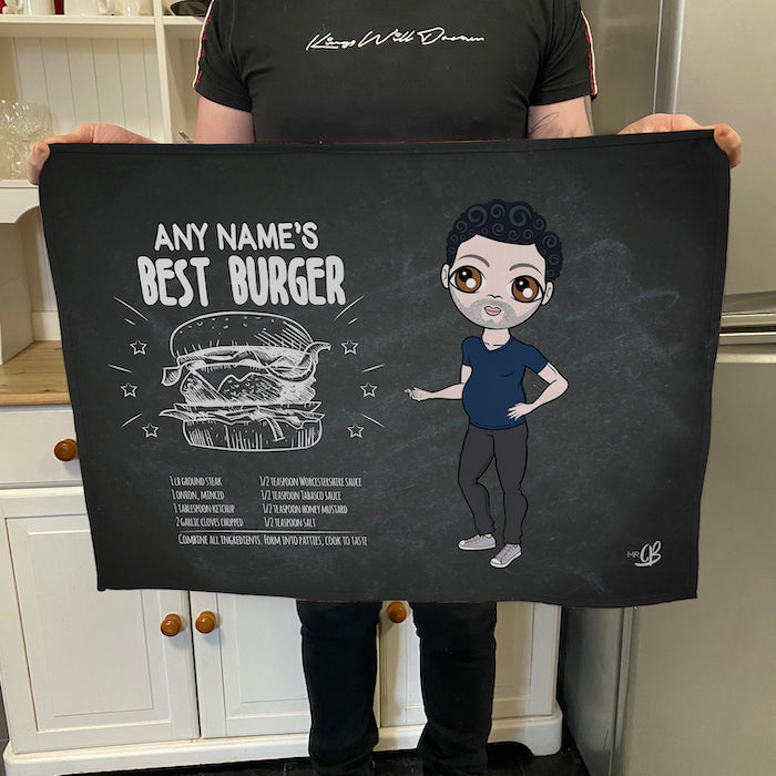 MrCB Personalised Best Burger Recipe Tea Towel