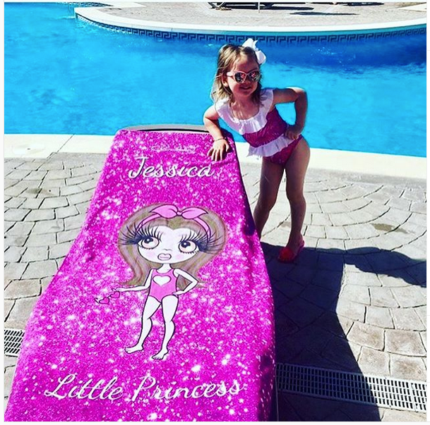 ClaireaBella Girls Glitter Effect Beach Towel