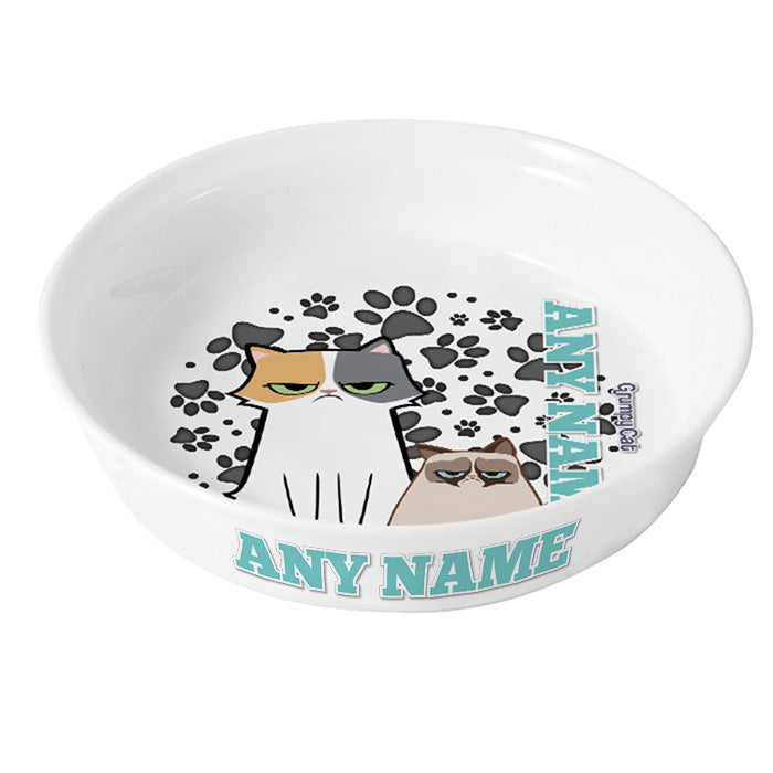 Grumpy Cat Grey Paw Pattern Cat Bowl