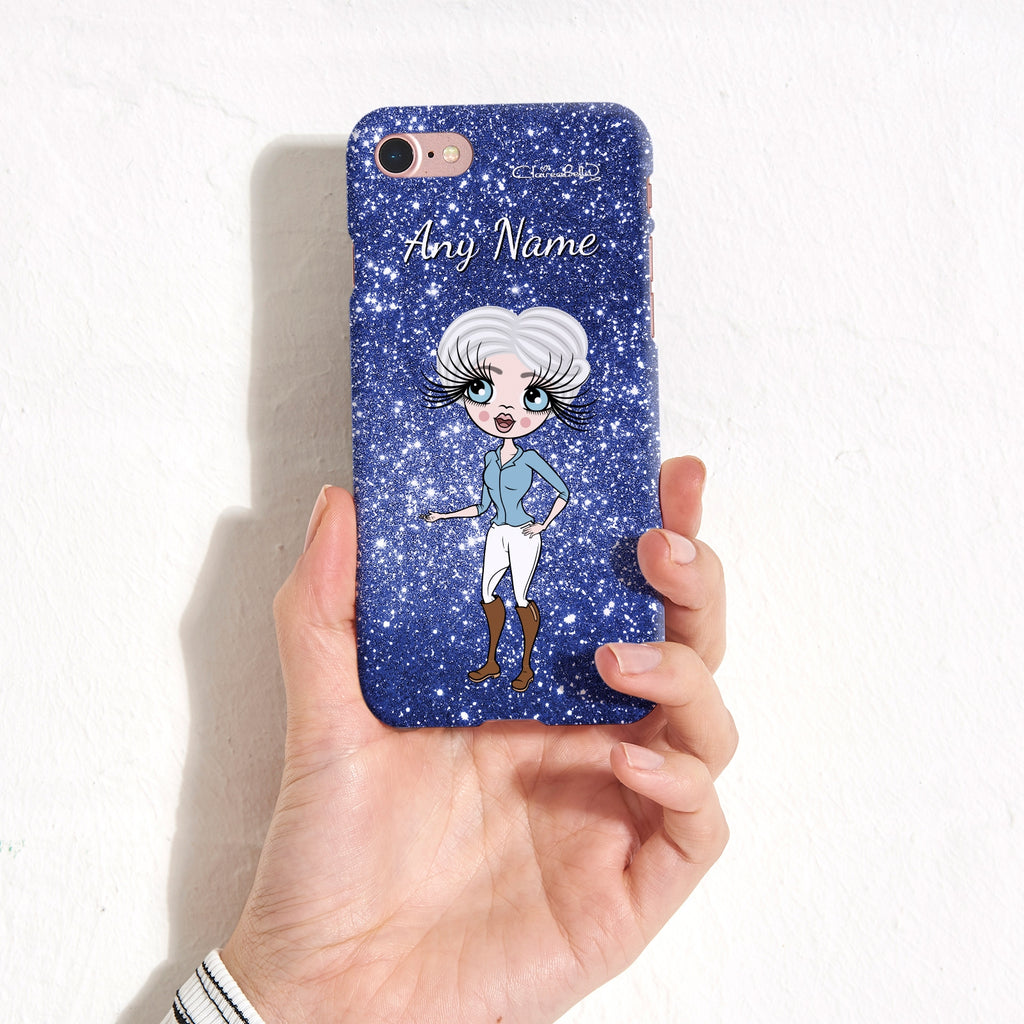 ClaireaBella Personalised Glitter Effect Phone Case - Blue - Image 4