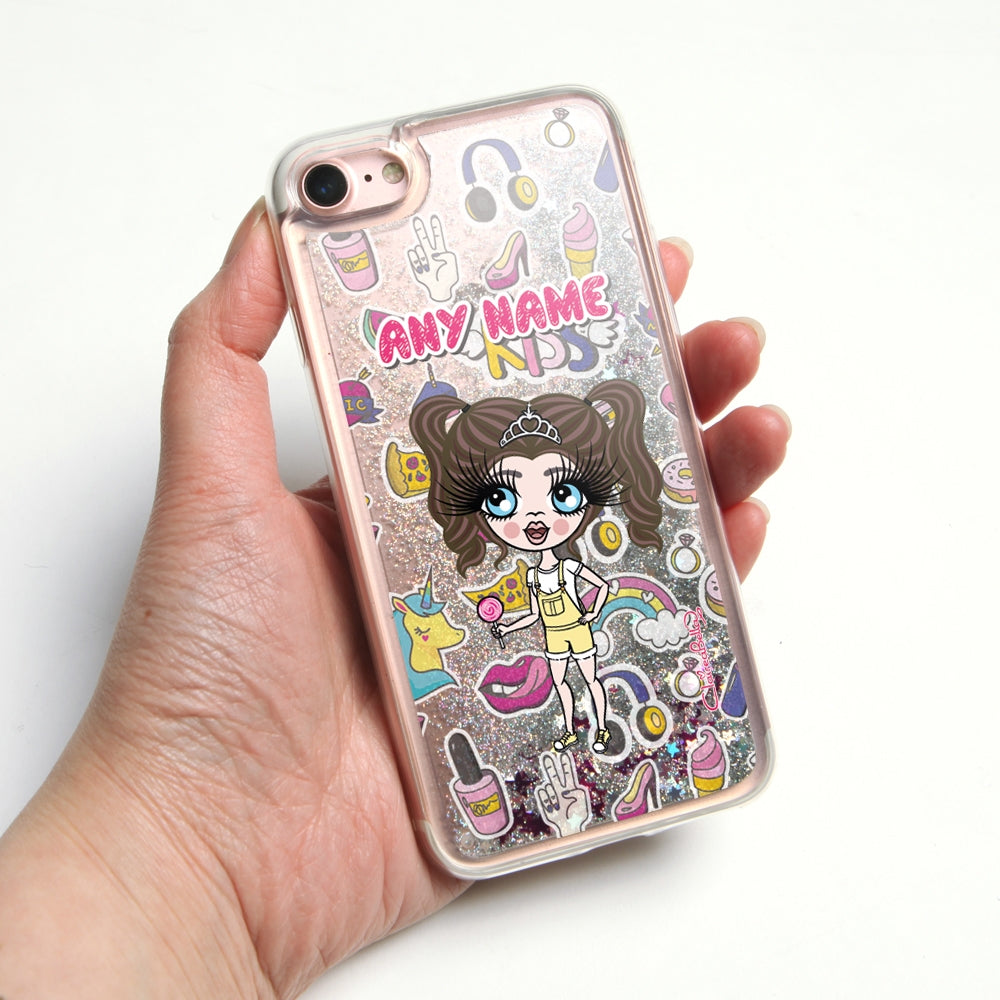 ClaireaBella Girls Stickers Liquid Glitter Phone Case - Silver - Image 1