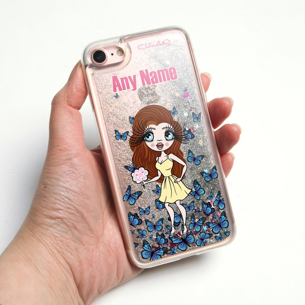 ClaireaBella Butterfly Liquid Glitter Phone Case - Silver - Image 1