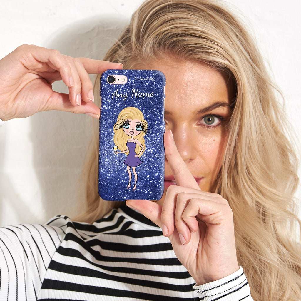 ClaireaBella Personalised Glitter Effect Phone Case - Blue - Image 3