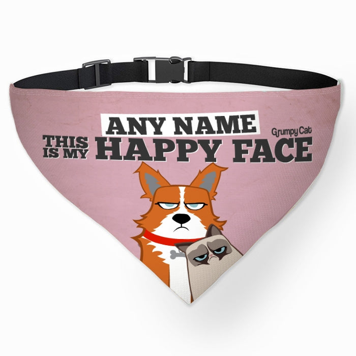Grumpy Cat Happy Face Pet Bandana - Image 1