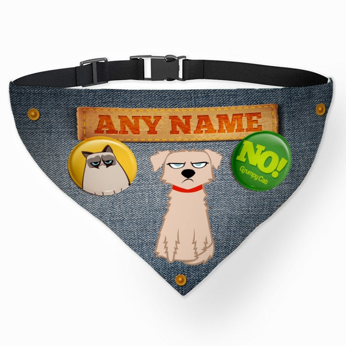 Grumpy Cat Denim Effect Pet Bandana - Image 1