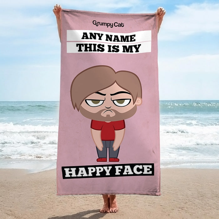 Grumpy Cat Happy Face Beach Towel - Image 2