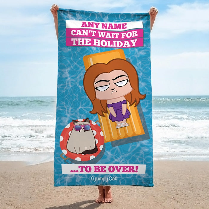 Grumpy Cat Holiday Over Beach Towel - Image 2