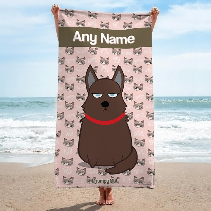 Grumpy Cat Emoji Beach Towel - Image 1
