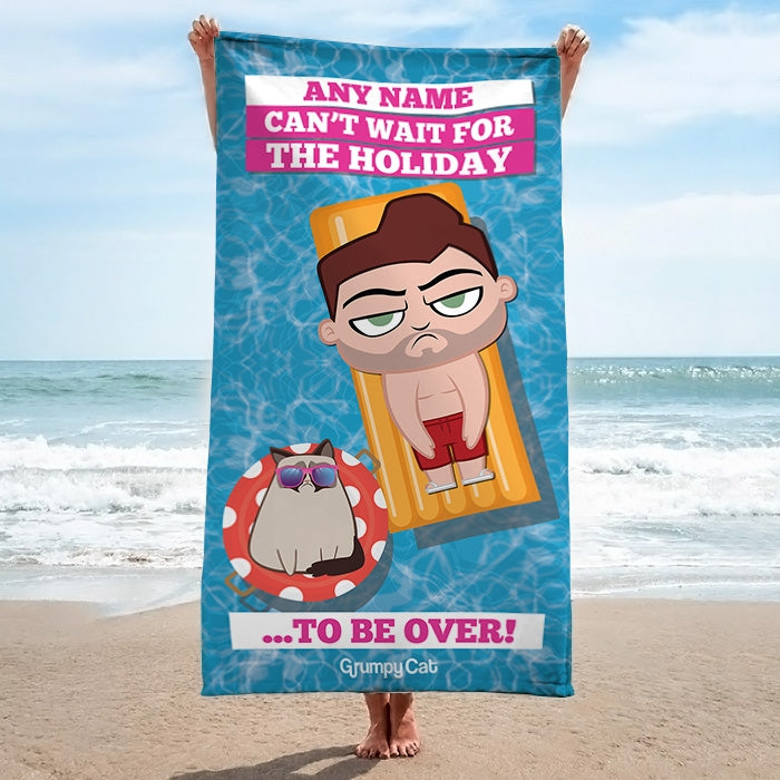 Grumpy Cat Holiday Over Beach Towel - Image 1