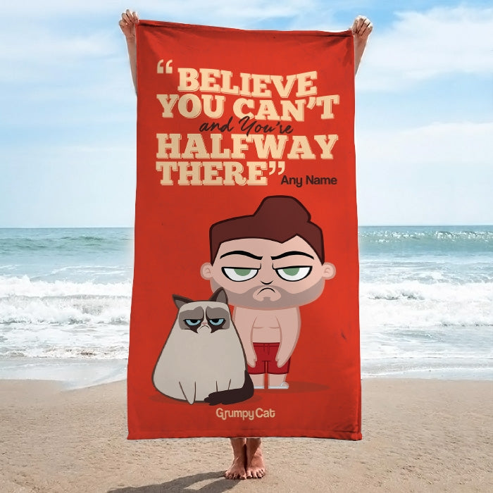Grumpy Cat Believe Beach Towel - Image 1
