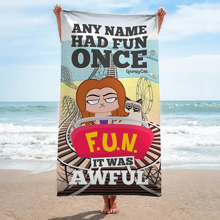 Grumpy Cat Had Fun Beach Towel - Image 1