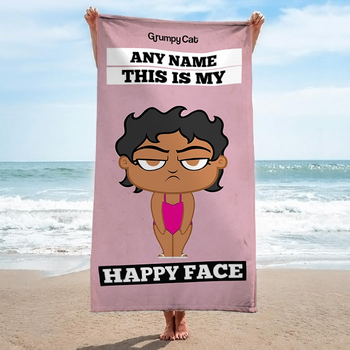 Grumpy Cat Happy Face Beach Towel - Image 1