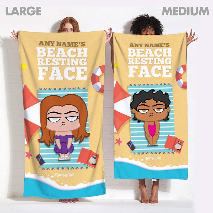 Grumpy Cat Resting Face Beach Towel - Image 3