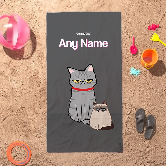 Grumpy Cat Charcoal Beach Towel - Image 1