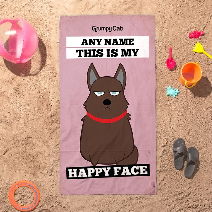 Grumpy Cat Happy Face Beach Towel - Image 4