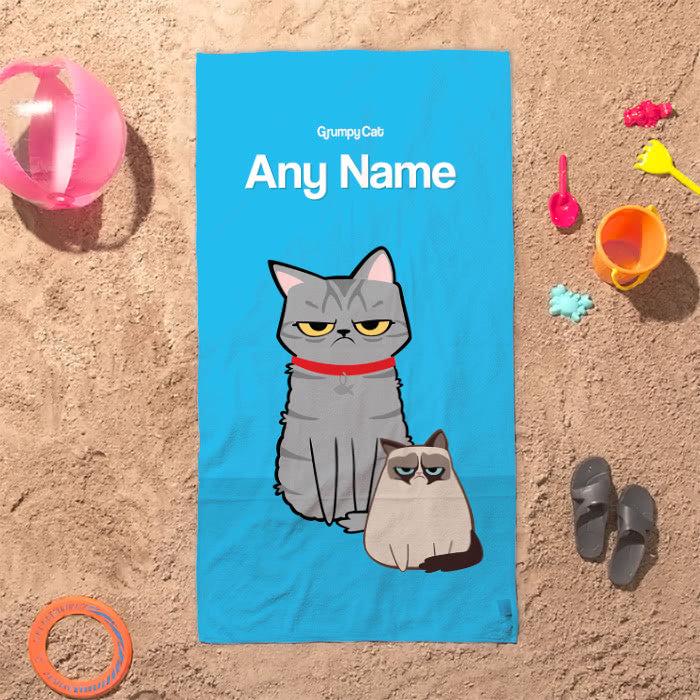 Grumpy Cat Blue Beach Towel