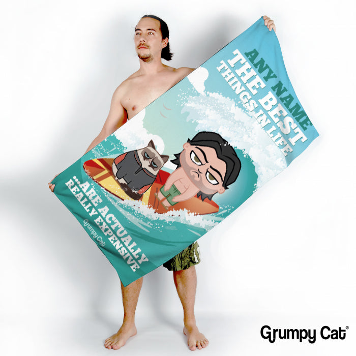 Grumpy Cat Best Things Beach Towel