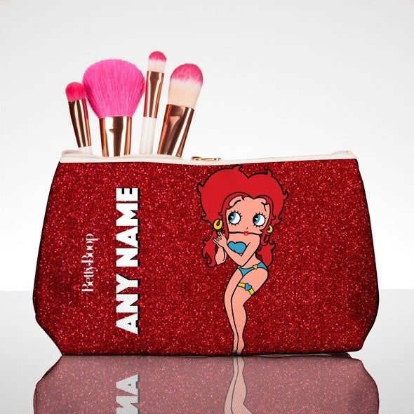 Betty Boop Red Glitter Effect Make Up Bag - Image 1