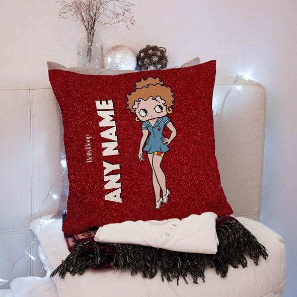 Betty Boop Red Glitter Effect Square Cushion - Image 1
