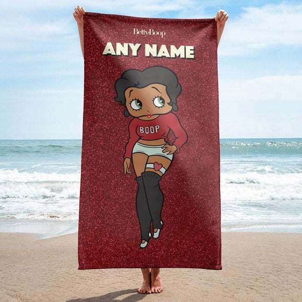 Betty Boop Red Glitter Effect Beach Towel - Image 1