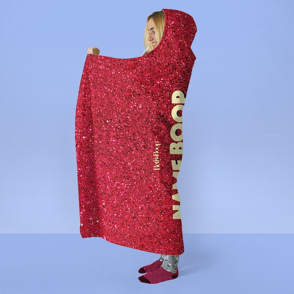 Betty Boop Red Glitter Effect Hooded Blanket - Image 2