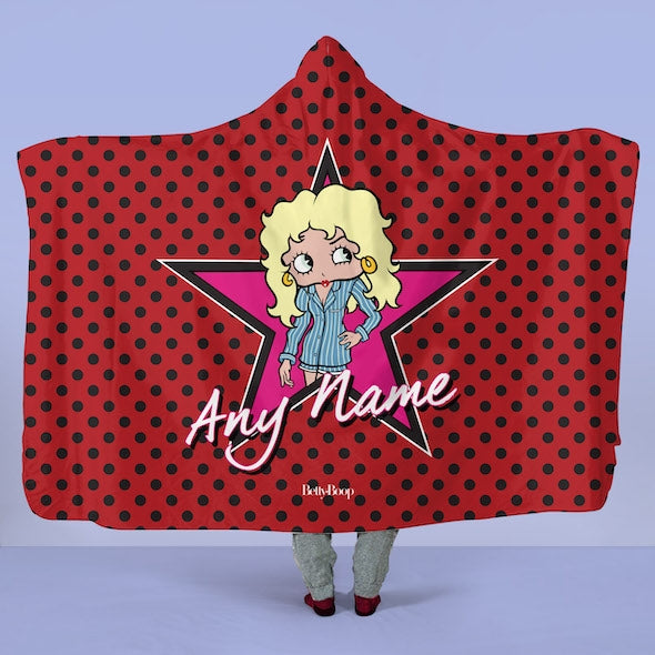 Betty Boop Polka Star Hooded Blanket - Image 1