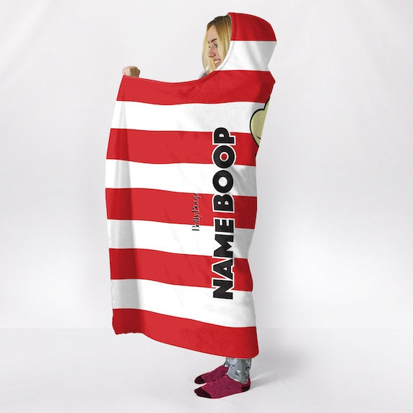 Betty Boop Candy Stripe Hooded Blanket - Image 5