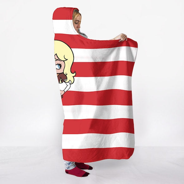 Betty Boop Candy Stripe Hooded Blanket - Image 3