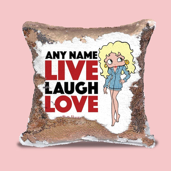 Betty Boop Live Laugh Love Sequin Cushion - Image 1