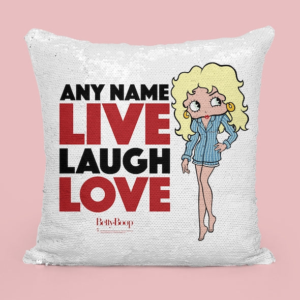 Betty Boop Live Laugh Love Sequin Cushion - Image 4