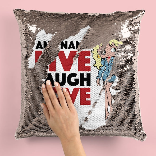 Betty Boop Live Laugh Love Sequin Cushion - Image 2