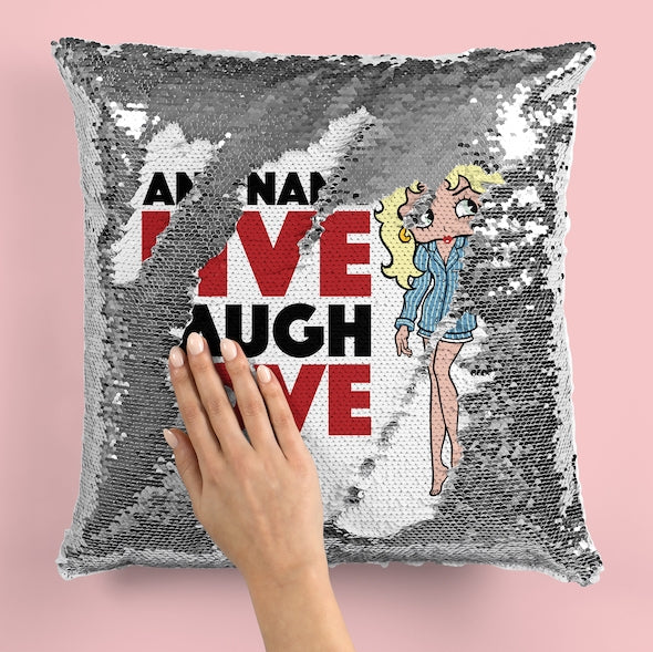 Betty Boop Live Laugh Love Sequin Cushion - Image 5