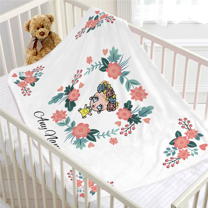 Early Years Classic Floral Fleece Blanket - Image 1
