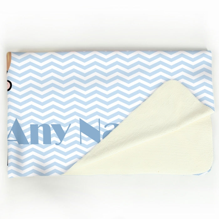 Early Years Blue Zig Zag Fleece Blanket - Image 4