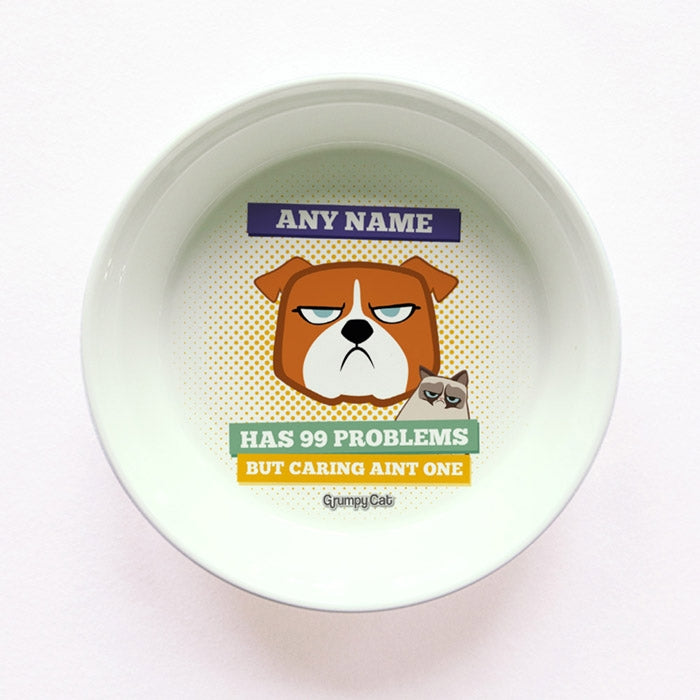 Grumpy Cat 99 Problems Small Dog Bowl - Image 1