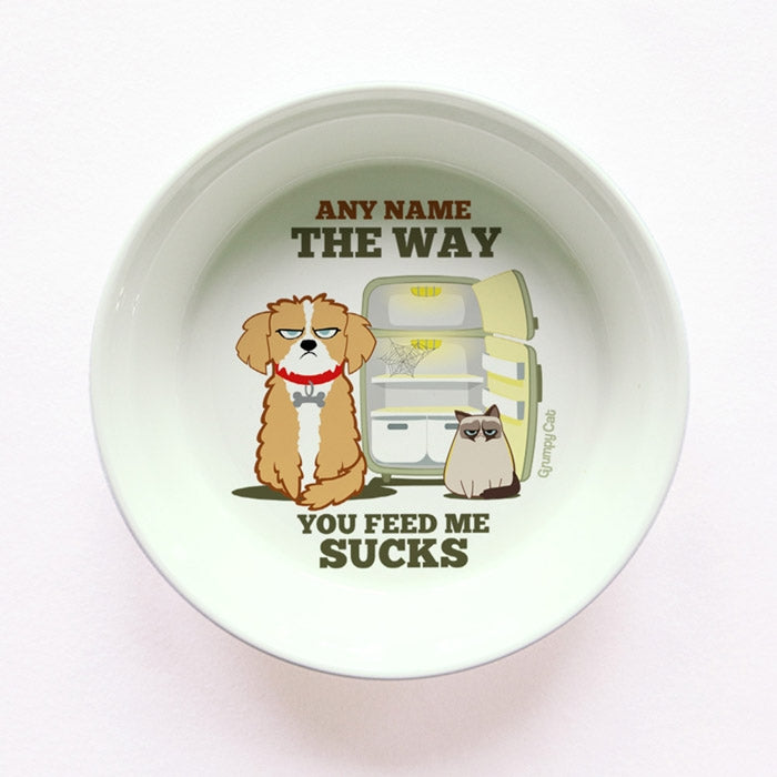 Grumpy Cat Your Feeding Sucks Small Dog Bowl - Image 1