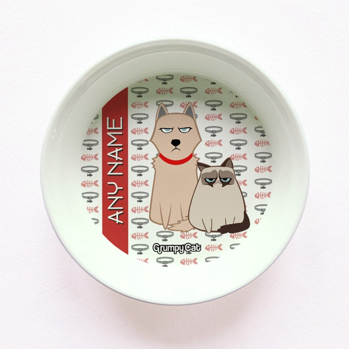 Grumpy Cat Fish Collar Small Dog Bowl - Image 1