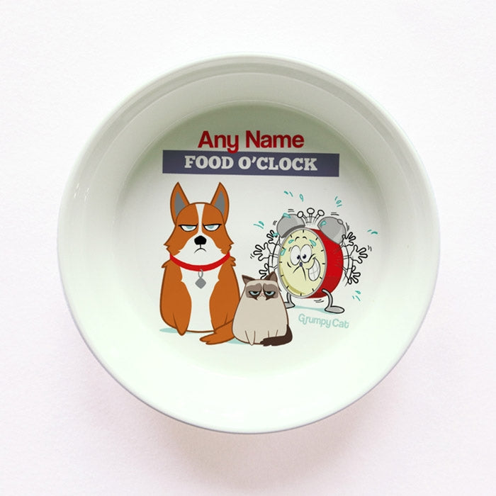 Grumpy Cat Food O'Clock Small Dog Bowl - Image 1