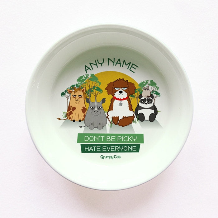 Grumpy Cat Hate Everyone Small Dog Bowl - Image 1