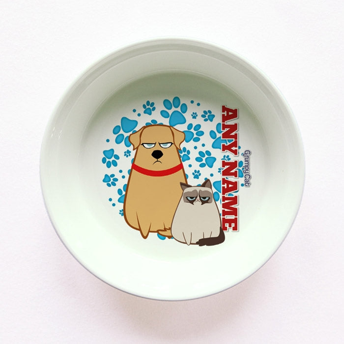Grumpy Cat Blue Paw Pattern Small Dog Bowl - Image 1