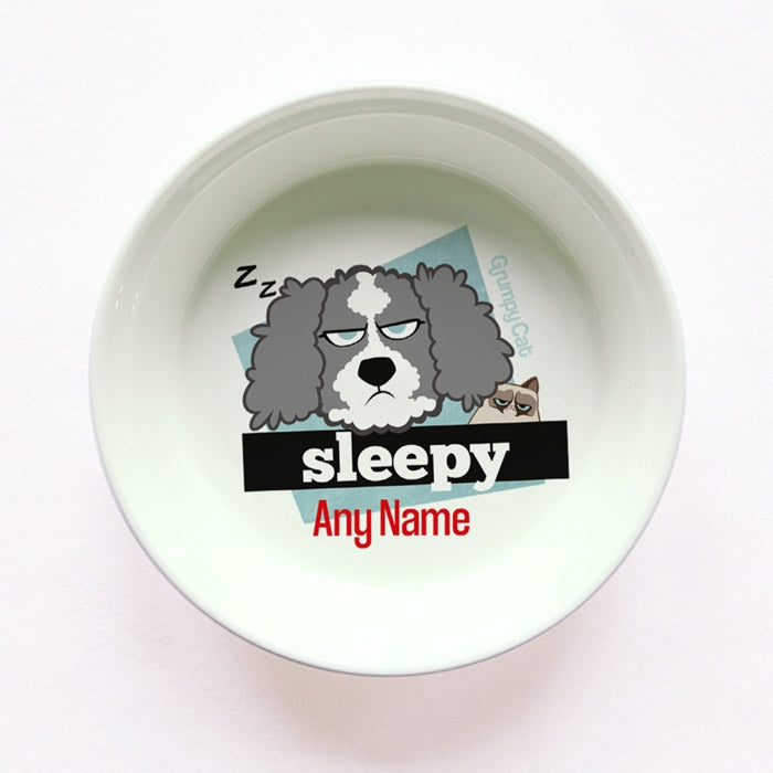 Grumpy Cat Sleepy Small Dog Bowl - Image 1