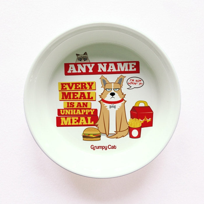 Grumpy Cat Unhappy Meal Small Dog Bowl - Image 1