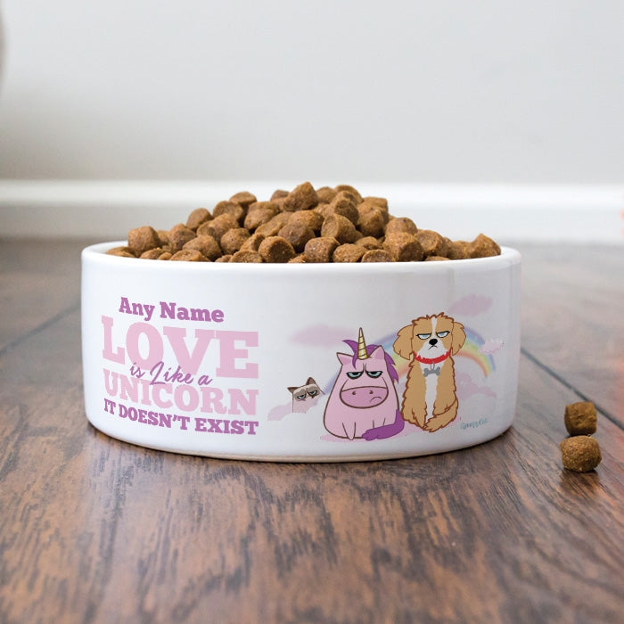 Grumpy Cat Unicorn Dog Bowl - Image 2
